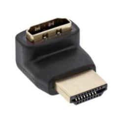 Adaptateur HDMI 19 broches prise/prise femelle, anguleux vers haut, contacts dorés