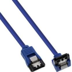 Câble de raccordement SATA 6Gb/s rond, plié, InLine®, bleu, avec languette, 0,3m