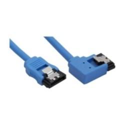 Câble de raccordement SATA 6Gb/s rond, plié à gauche, InLine®, bleu, avec languette, 0,15m