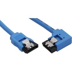 Câble de raccordement SATA 6Gb/s rond, plié à droite, InLine®, bleu, avec languette, 0,15m