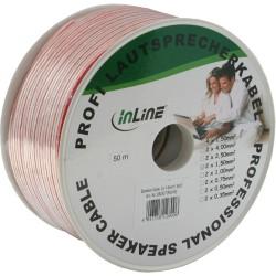 Câble haut-parleurs, InLine®, 2x 1,5mm², CCA, transparent, 50m