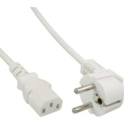 Câble réseau, InLine®, Schutzkontakt anguleux sur prise dispositifs froids, 3m, blanc
