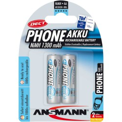 "Ansmann ""Phone DECT"" accumulateur NiMH, Mignon (AA), 1300 mAh, 2 pcs. (5030802)"