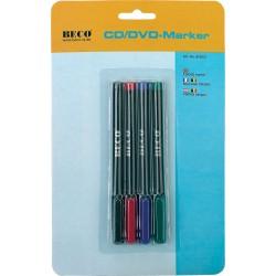 Marqueurs CD/DVD, encre non-effacant et imperméable en 4 couleurs, BECO 609.09