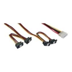 """InLine® Strom Y-Kabel intern, 1x 13,34cm (5,25"""") an 4x 15pol SATA gewinkelt mit Lasche, 40+55cm"""