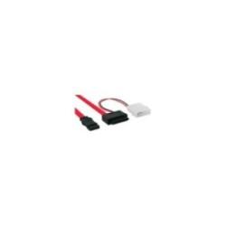 InLine® Slimline SATA Kabel, Slimline SATA Stecker 13pol. (7+6) zu SATA + Strom, 0,4m