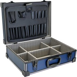 InLine® Werkzeugkoffer, ABS/Aluminium blau/schwarz, unbestückt, abschließbar