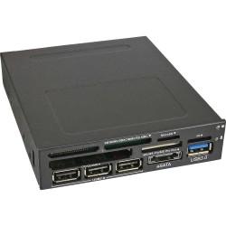 InLine® Frontpanel für den Floppy Schacht, Card Reader, 1x USB 3.0, 1x eSATA, 3x USB 2.0
