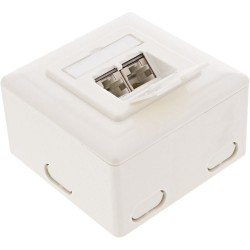 InLine® Cat.6 Anschlussdose, AP/UP 2x RJ45 Buchse, RAL9010, weiß, senkrecht