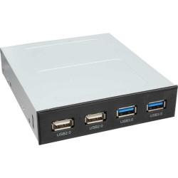 InLine® Frontpanel für den Floppy Schacht, 2x USB 3.0, 2x USB 2.0
