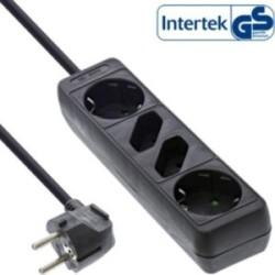 InLine® Steckdosenleiste, schwarz, 4-fach, 2xSchutzkontakt + 2xEuro, 1,5m Zuleitung, mit Kindersicherung
