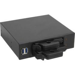 """InLine® Frontpanel für den DVD-Schacht, 2-fach 6,3cm/2,5"""" HDD Slots, 2x USB 3.0, schwarz"""
