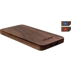 InLine® woodplate, USB Akku PowerBank 5.000mAh, mit LED Anzeige, Echtholz, Walnuss