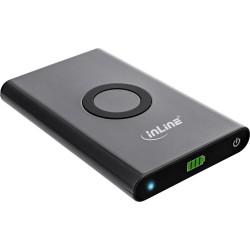 InLine® Qi-Plate Powerbank, 7000mAh, Wireless Charging, induktiv kabellos laden und wiederaufladen, schwarz