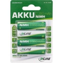 InLine® NiMH-Akku, Mignon (AA), 2350mAh, vorgeladen, im 4er Blister