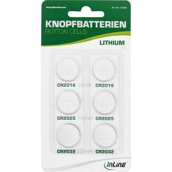 InLine® Knopfbatterien-Set, 3V Lithium, 2x CR2016, 2x CR2025, 2x CR2032, 6er Pack