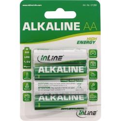 InLine® Alkaline High Energy Batterie, Mignon (AA), 4er Blister