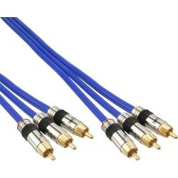 Câble Cinch AUDIO/vidéo, InLine®, PREMIUM, prise doré, 3x Cinch mâle/mâle, 25m