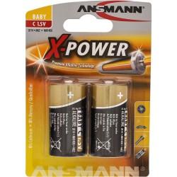 Ansmann Alkaline X-Power Batterie, Baby (C), 2er Pack (5015623), 7,5mAh