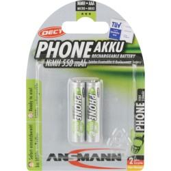 "ANSMANN ""Phone DECT"" NiMH-Akku, Micro AAA / HR03 / 1.2V, 2er-Blisterpack (5035523)"