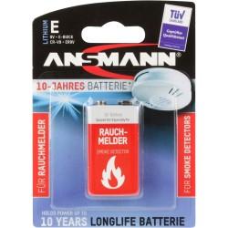 ANSMANN Zehn-Jahre-Lithiumbatterie für Rauchmelder, 9V-E-Block, longlife (5021023-01)