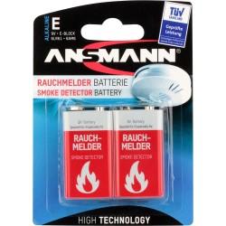 Ansmann Alkaline Batterie für Rauchmelder, 9V E-Block, 2er Pack (1515-0006)