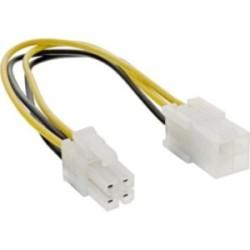 """Rallonge câble électrique interne, InLine®, 4 broches mâle/fem., bloc d'alimentation - carte mère """"P4"""", 20cm"""