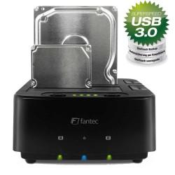 USB 3.0 zu SATA Docking Station, Fantec MR-CopyDU3, Clone, Backup, schwarz
