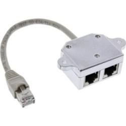 Cat.5e / Adaptateur ISDN T (reproductrice port) RJ45 mâle à 2x RJ45 Bu, 15cm, InLine®