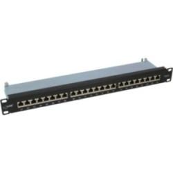 """Panneau à connexions InLine®, Cat.6 24 x, 19"""", 1HE, noir, RAL9005"""