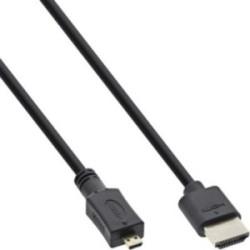 Câble Superslim HDMI A à D InLine®, HDMI haute vitesse avec Ethernet, Premium, noir / or, 1,8 m