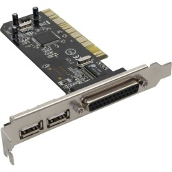 Carte d'interface, InLine®, 2x USB 2.0 + 1x parallèle, PCI