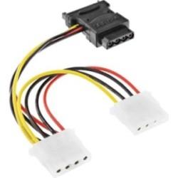 """Câble adaptateur d'électricité SATA, InLine®, SATA prise femelle à 3x 5,25"""" mâle, 15cm"""