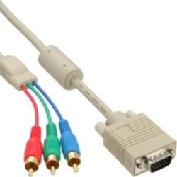 Câble VGA RGB, InLine®, VGA prise à 3x connecteur Cinch, 2m